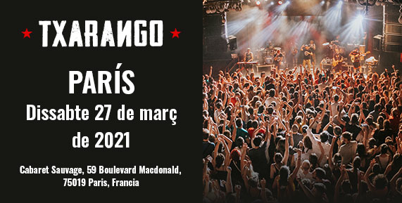 Concert de Txarango a París el 27 de març de 2021